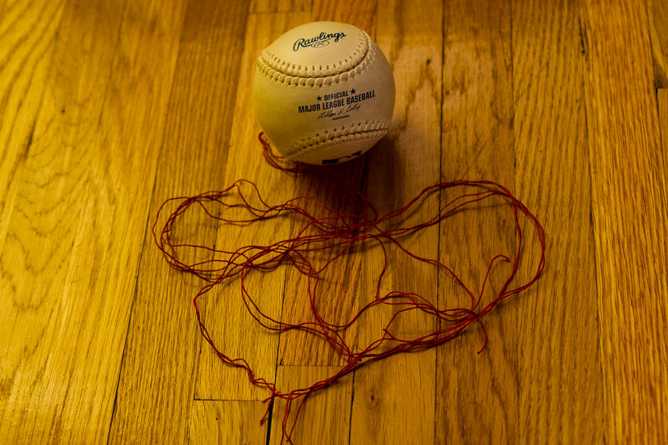 Baseball with thread