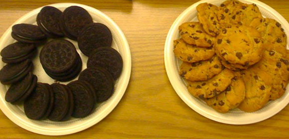 Plates of Oreos and Chips Ahoy!
