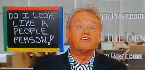Picture of Woody Paige with his chalkboard